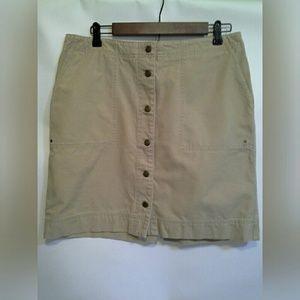 Button Front Lauren Ralph Lauren 100% Cotton Skirt